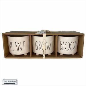 Rae Dunn PLANT GROW BLOOM Decorative 3 Pot Set